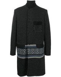 Haider Ackermann Однобортное Пальто Вязки Интарсия - Черный