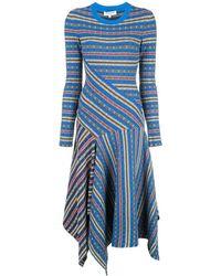 Opening Ceremony Rib-knit Printed Asymmetrical Midi Dress - Blue