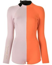Cynthia Rowley Logan カラーブロック ウェットスーツ - オレンジ