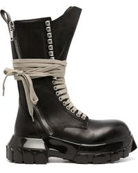 Rick Owens DRKSHDW Chunky Lace-up Leather Boots - Black