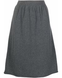 Extreme Cashmere A-line Knitted Midi Skirt - Grey