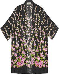 Gucci Climbing Roses Print Pajama Kimono - Black