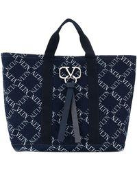 Valentino Bolso shopper con logo - Azul