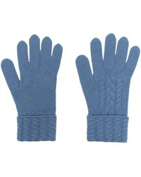 N.Peal Cashmere ケーブルニット カシミア 手袋 - ブルー
