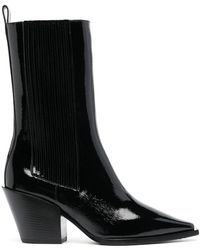 Aeyde Ari Patent Leather Mid-calf Boots - Black
