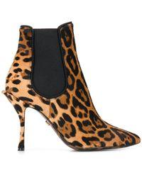 Dolce & Gabbana レオパード ブーツ - ブラウン