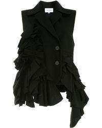 Enfold Sleeveless Ruffled Blazer - Black