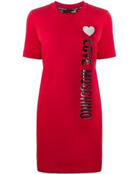 Love Moschino Side Logo T-shirt Dress - Red