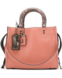 COACH Rogue 25 Tote With Colorblock Snake - Pink