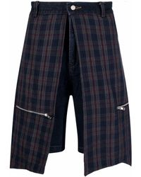 Youths in Balaclava Checked Panelled Denim Shorts - Blue