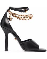 Versace Босоножки С Ремешком-цепочкой И Декором Medusa - Черный