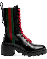 Gucci Web Striped Boots - Black