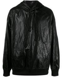 Juun.J Sudadera con capucha y efecto arrugado - Negro