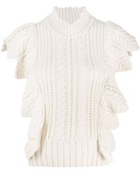 Zadig & Voltaire Fashion Show Lila Ruffle-trimmed Knitted Top - White