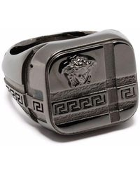 Versace Кольцо С Гравировкой Greca И Декором Medusa - Металлик