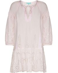 Melissa Odabash Ashley Broderie Anglaise Beach Dress - Pink