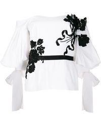 Marchesa Handtasche mit Blumenapplikation - Weiß