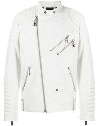 Philipp Plein Lettering Logo Biker Jacket - White