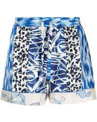 Pierre Louis Mascia Aloe Patchwork Silk Shorts - Blue
