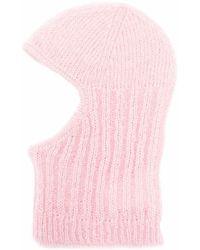 Cecilie Bahnsen Gaia Ribbed-knit Balaclava - Pink