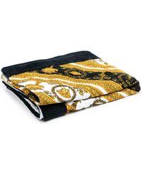Versace Baroque-print Beach Towel - Metallic