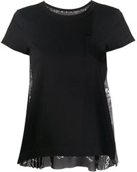 Sacai コントラスト バックパネル Tシャツ - ブラック