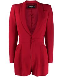 DSquared² Long-sleeved Pleat-detail Playsuit - Red