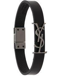Saint Laurent Monogram Logo Bracelet - Black