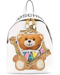 Moschino Mochila Frame Teddy Bear - Blanco