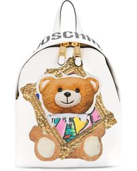 Moschino Frame Teddy Bear Backpack - White