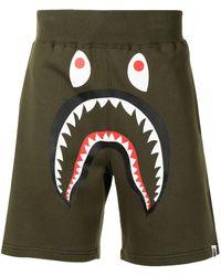 A Bathing Ape Shark Sweat Shorts - Green
