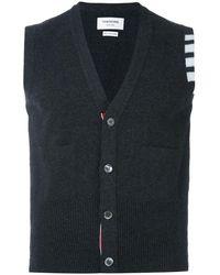 Thom Browne V-neck Cardigan Vest In Cashmere - Grijs