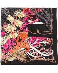 Ferragamo Sjaal Met Bloemenprint - Zwart