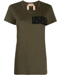 N°21 Embroidered-logo Cotton T-shirt - Green