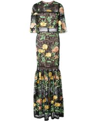 Nicole Miller - Embroidered Rose Lace Gown - Lyst