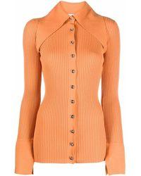 16Arlington Ribbed Button-up Shirt - Orange