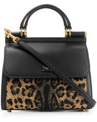 Dolce & Gabbana Sicily Draagtas Met Luipaardprint - Zwart