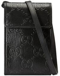 Gucci Telefoonhoes Met GG Motief - Zwart