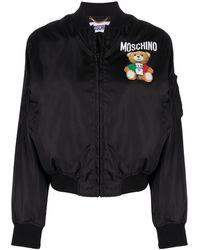 Moschino Chaqueta bomber con logo - Negro