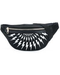 Neil Barrett Thunderbolt-print Belt Bag - Black