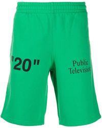 Off-White c/o Virgil Abloh Pantalones cortos de deporte con logo en contraste - Verde
