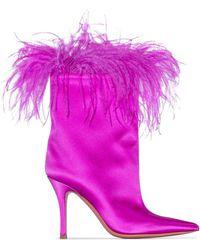 AMINA MUADDI Nakia Plume Satin Boot - Pink