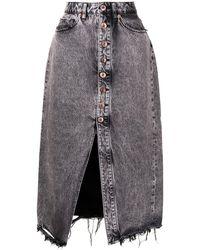 3x1 Liz Vintage ヘムディテール デニムスカート - グレー