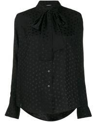 P.A.R.O.S.H. Блузка С Бантом И Принтом - Черный