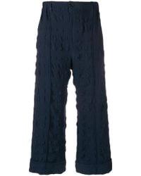 Julien David Textured Cropped Pants - Blue