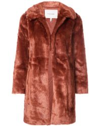 FRAME - Faux-fur Fitted Coat - Lyst