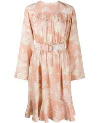 Chloé フローラル ベルテッドドレス - オレンジ