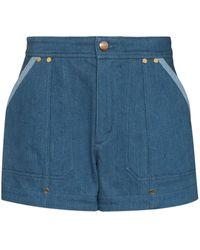 Chloé Contrast-trim Denim Shorts - Blue