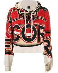 Pinko Cropped Printed Hoodie - Multicolour
