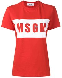 MSGM Logo Print T-shirt - レッド